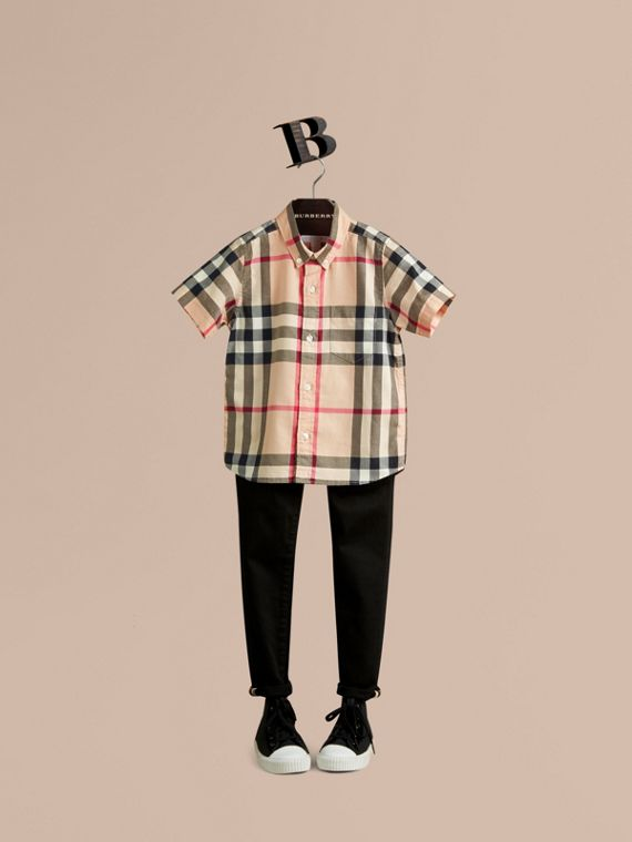 Short-sleeve Check Cotton Twill Shirt in New Classic - Boy | Burberry Canada