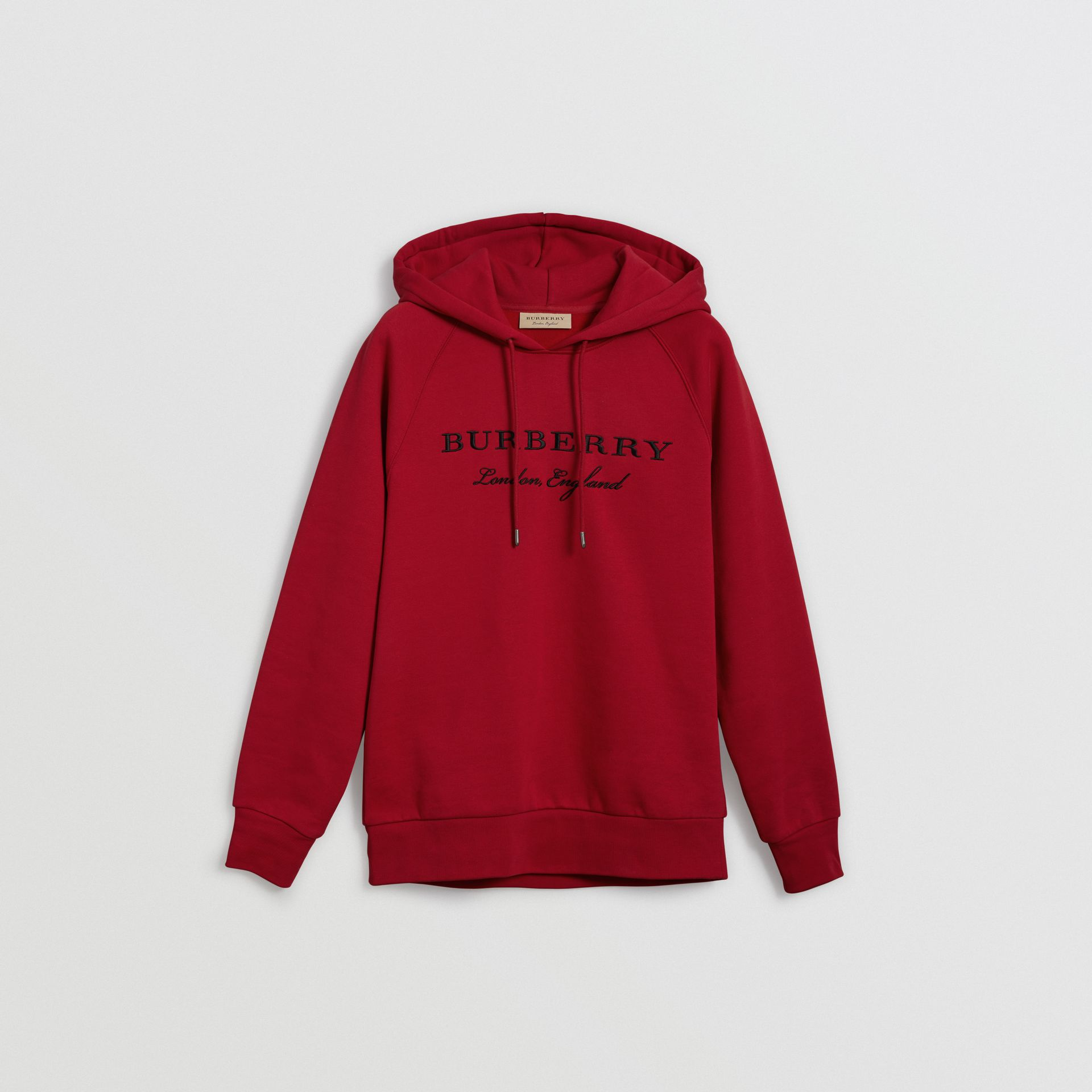 Embroidered Hooded Sweatshirt in Parade Red - Women | Burberry United Kingdom - gallery image 3