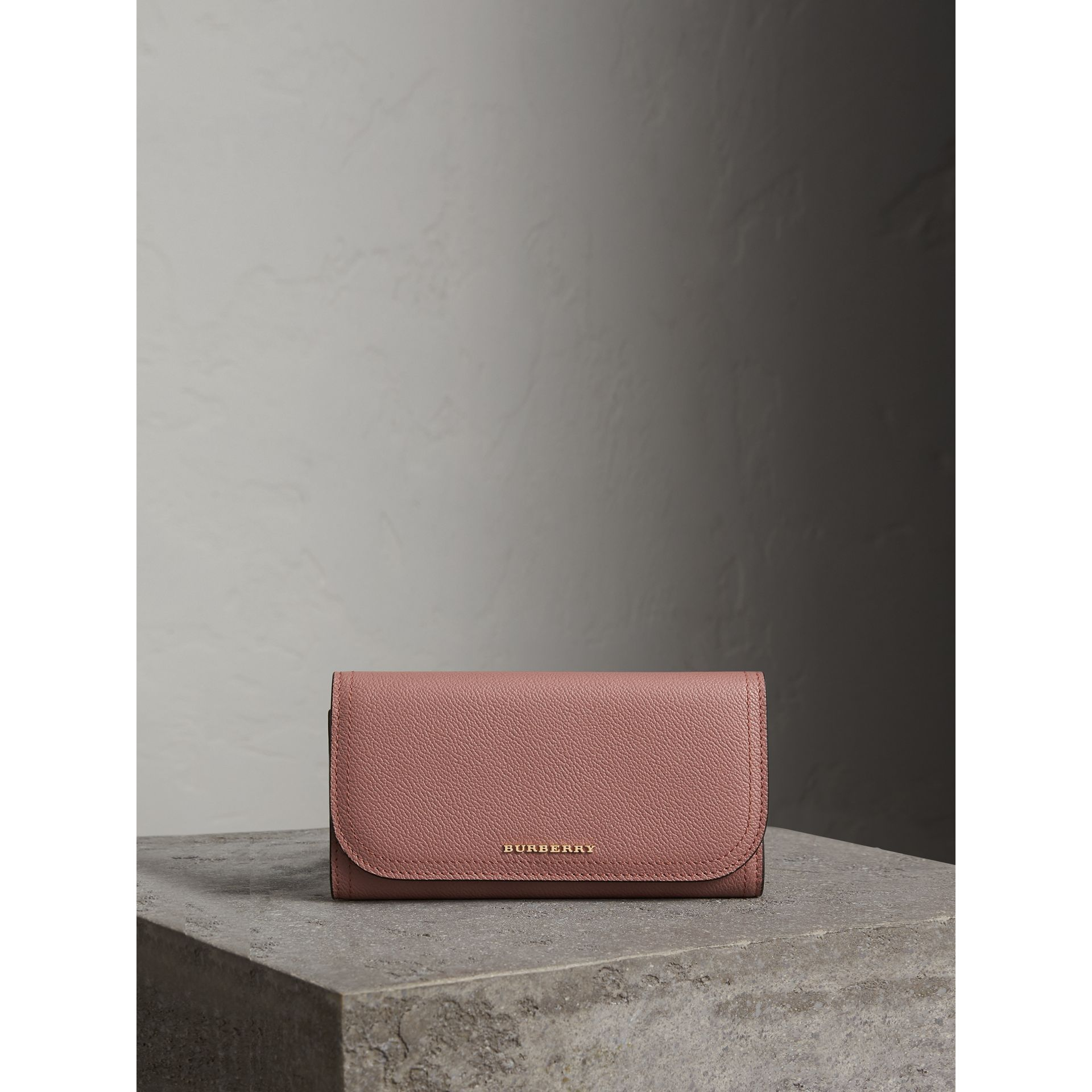 Leather Continental Wallet with Removable Coin Case in Dusty Pink - Women | Burberry - gallery image 5