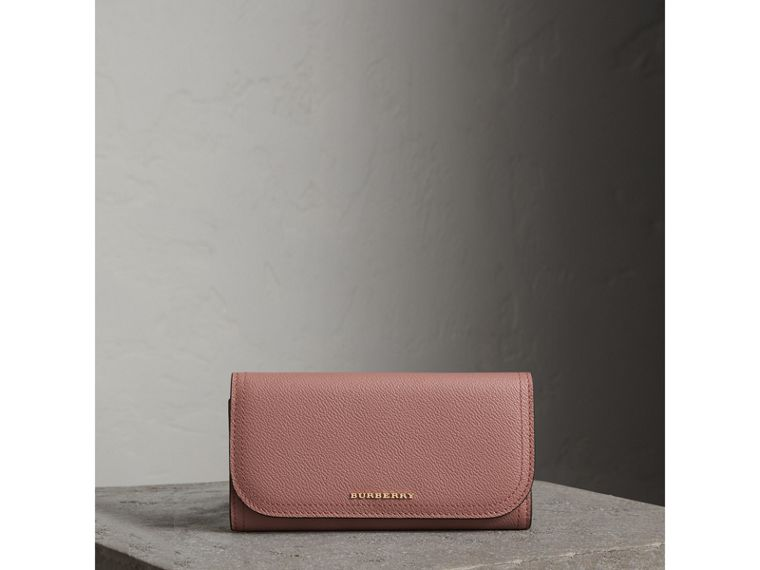 Leather Continental Wallet with Removable Coin Case in Dusty Pink - Women | Burberry - cell image 4