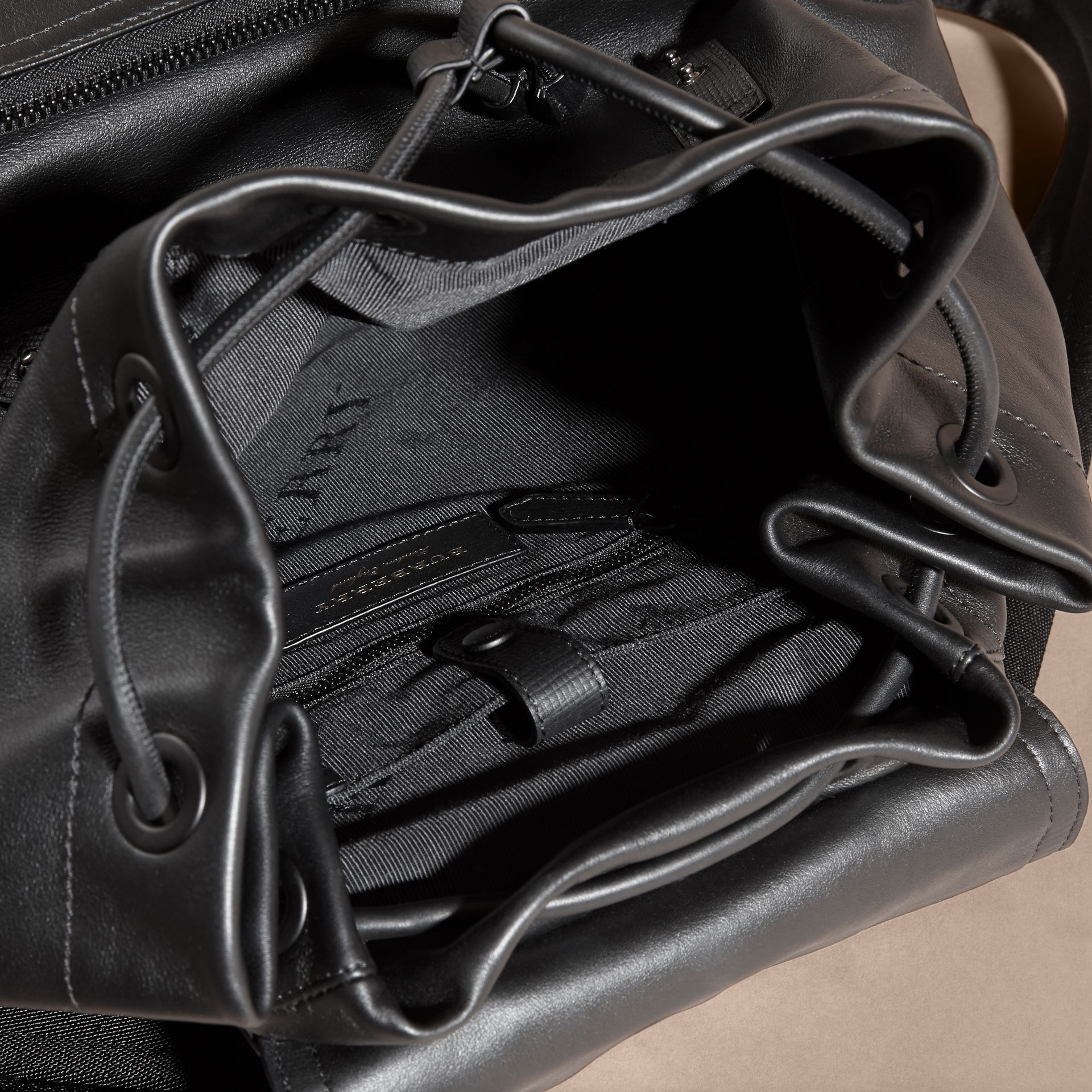 Black The Large Rucksack in Water-repellent Leather Black - gallery image 5