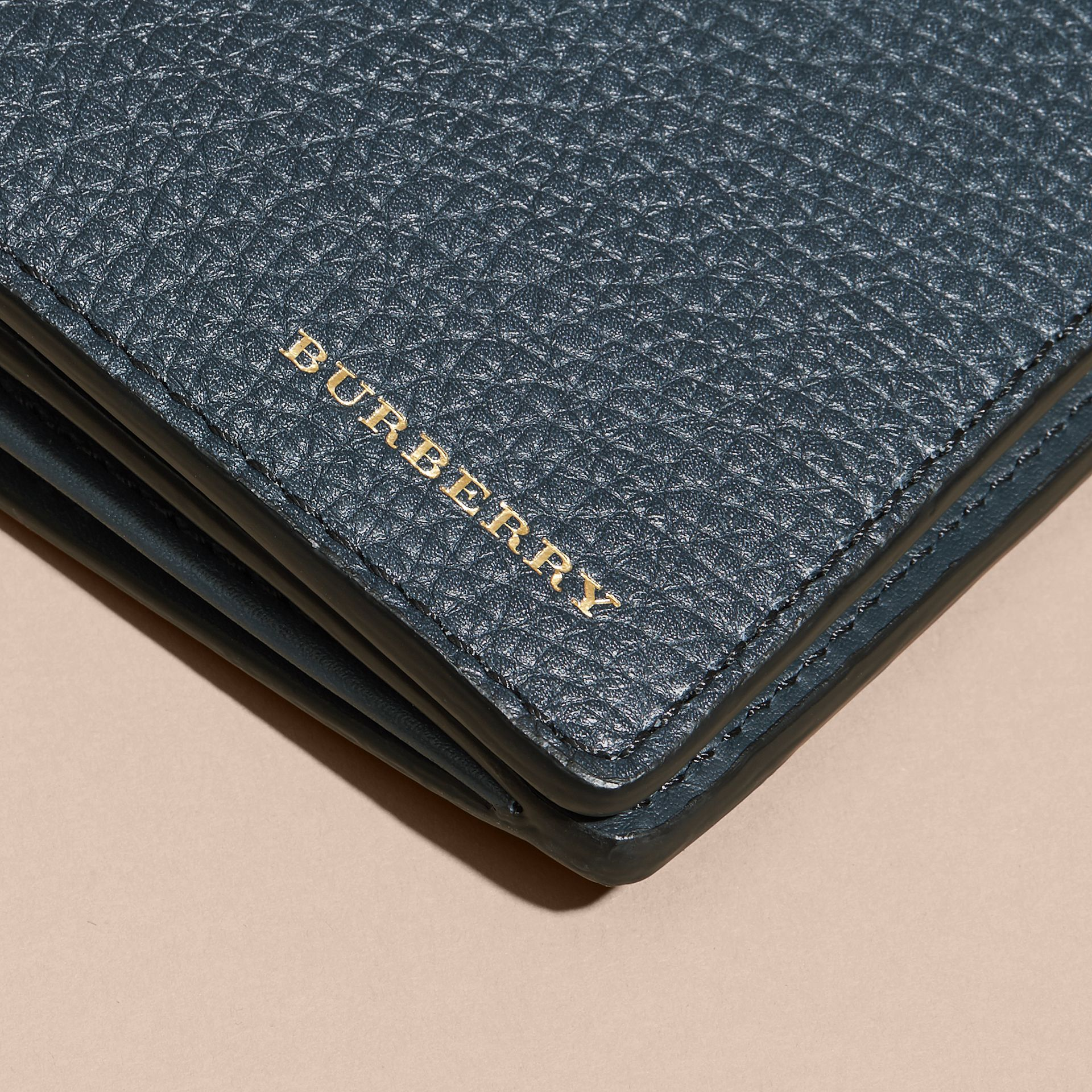 House Check and Grainy Leather Continental Wallet Storm Blue - gallery image 4