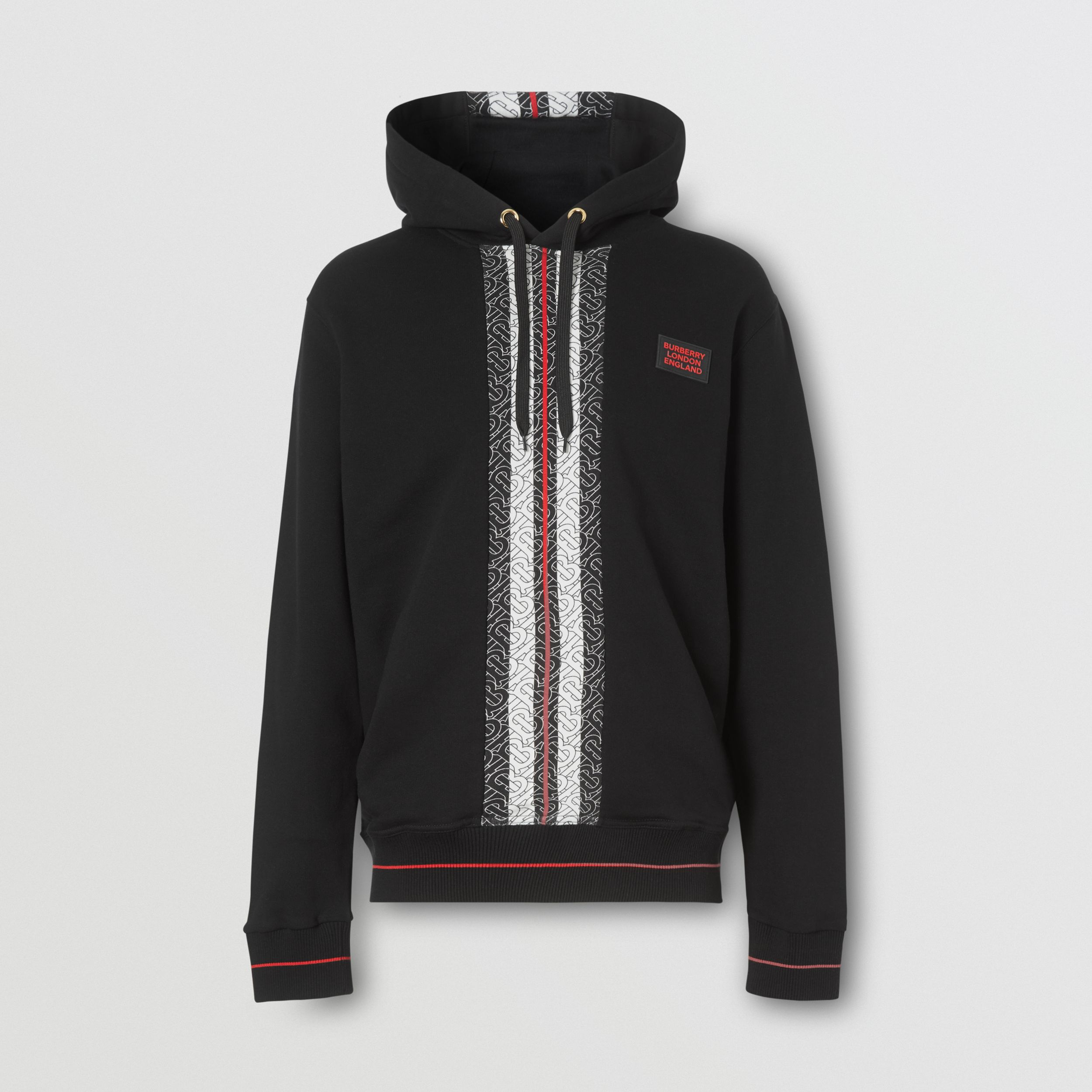 Monogram Stripe Panel Cotton Hoodie in Black - Men | Burberry - 4