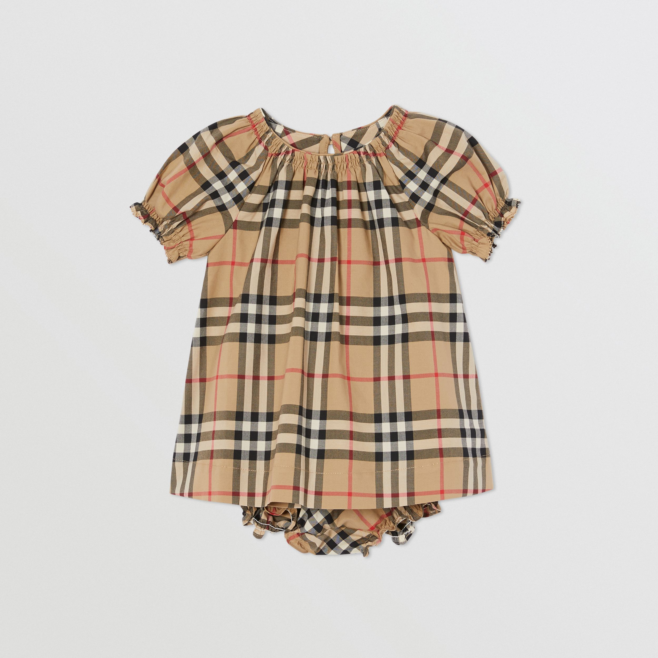 Ruched Vintage Check Cotton Dress with Bloomers in Archive Beige - Children | Burberry - 1