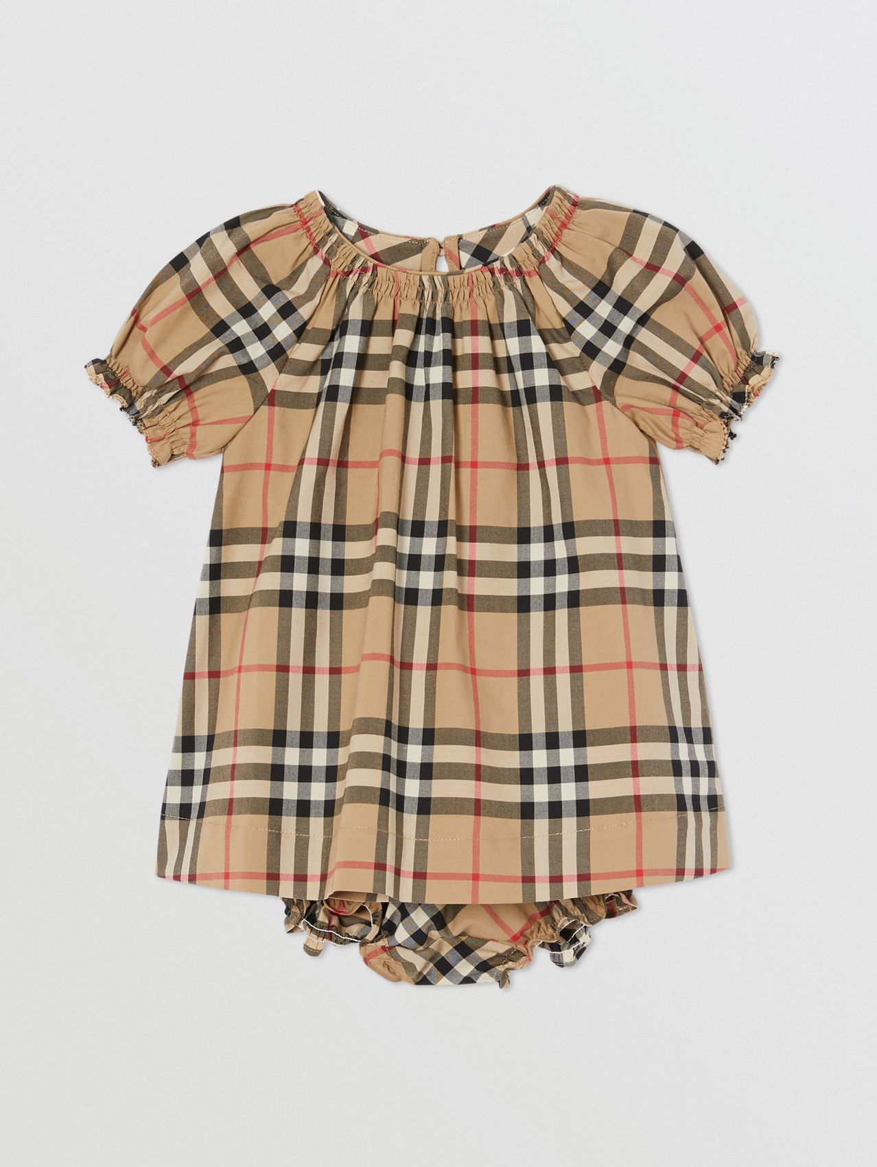 Ruched Vintage Check Cotton Dress with Bloomers in Archive Beige
