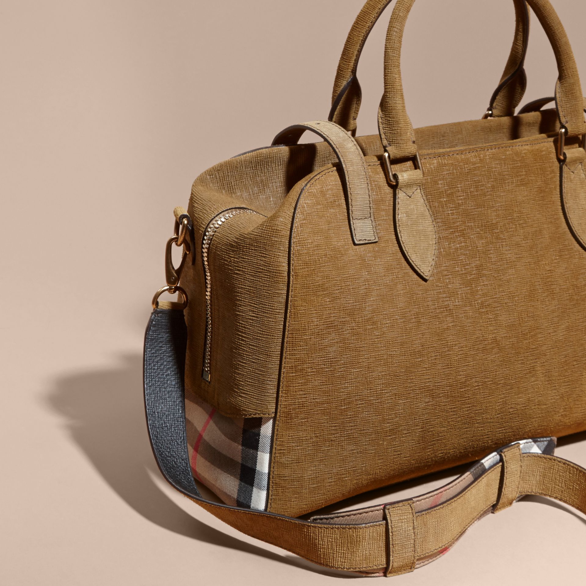 Textured Suede and House Check Detail Holdall - gallery image 3