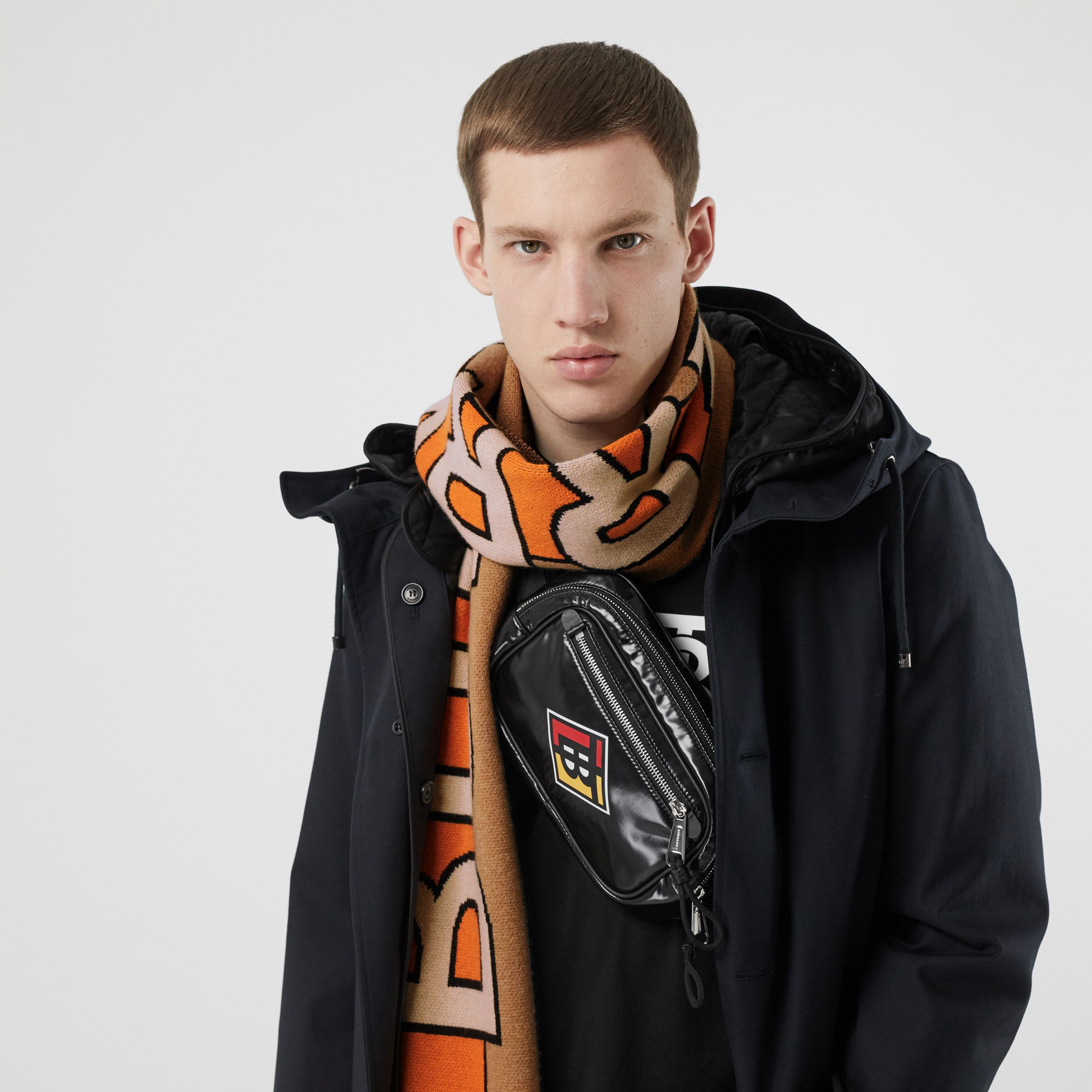 Logo Cashmere Jacquard Scarf in Warm Camel | Burberry United Kingdom - 4