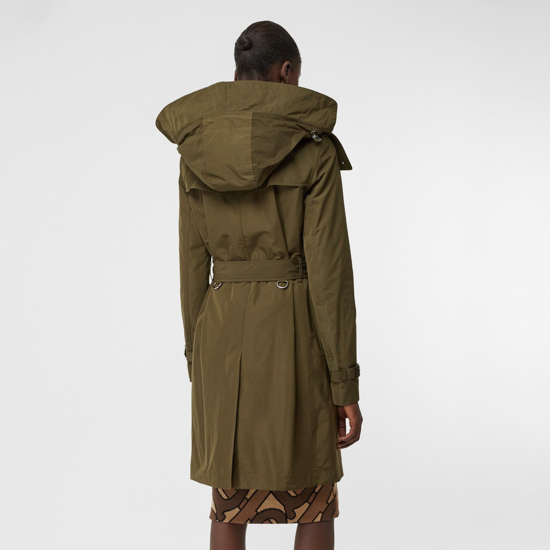 Detachable Hood Shape-memory Taffeta Trench Coat in Khaki - Women   Burberry United Kingdom - gallery image 2