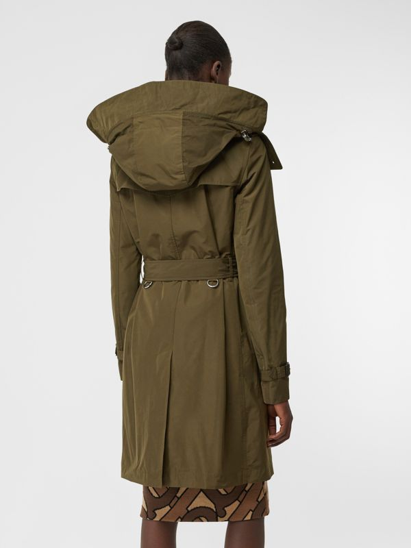 Detachable Hood Shape-memory Taffeta Trench Coat in Khaki - Women   Burberry United Kingdom - cell image 2