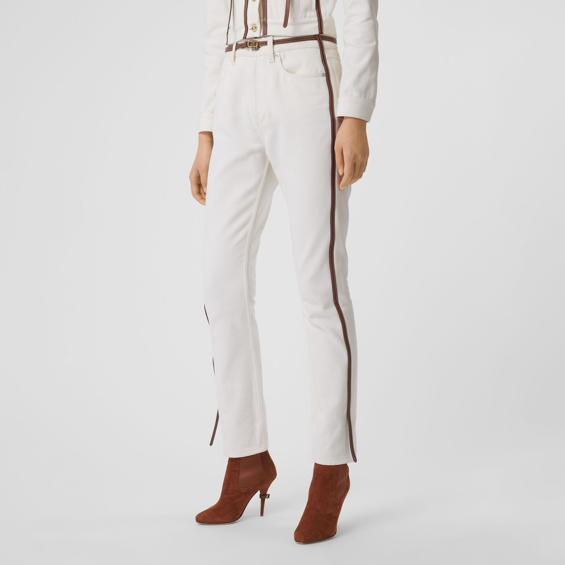 Straight Fit Leather Harness Detail Jeans in Off White - Women | Burberry Canada - gallery image 5