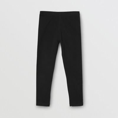 Logo Detail Stretch Cotton Leggings in Black Girl | Burberry
