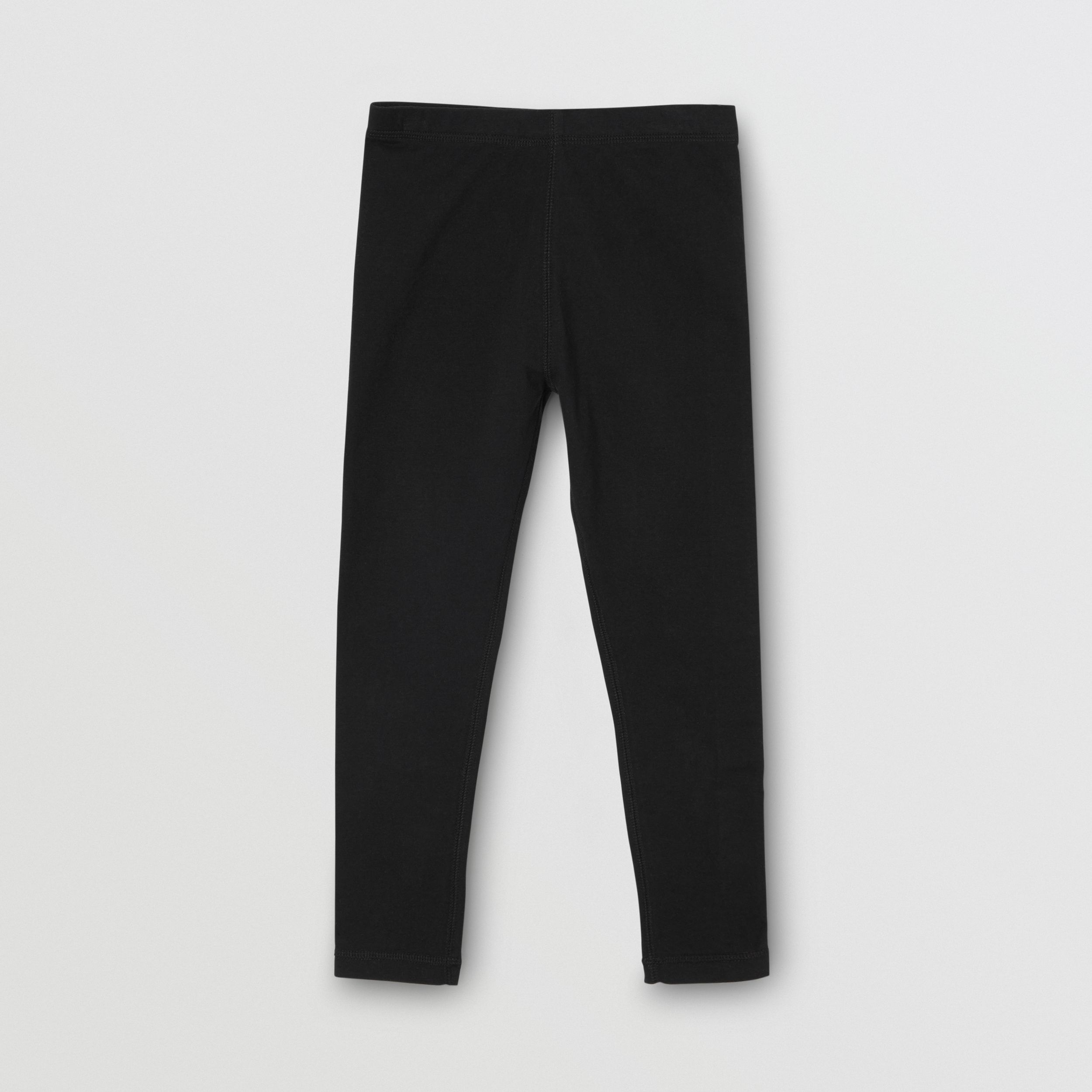 Logo Detail Stretch Cotton Leggings in Black | Burberry - 1