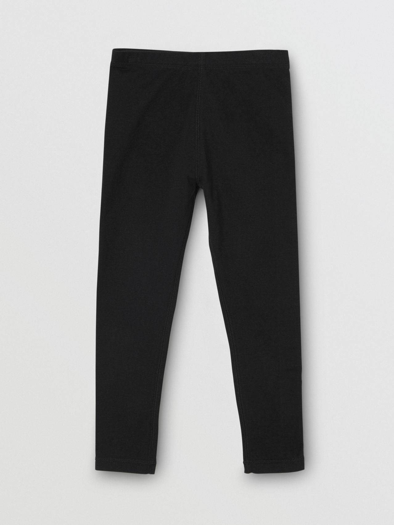 Logo Detail Stretch Cotton Leggings (Black)