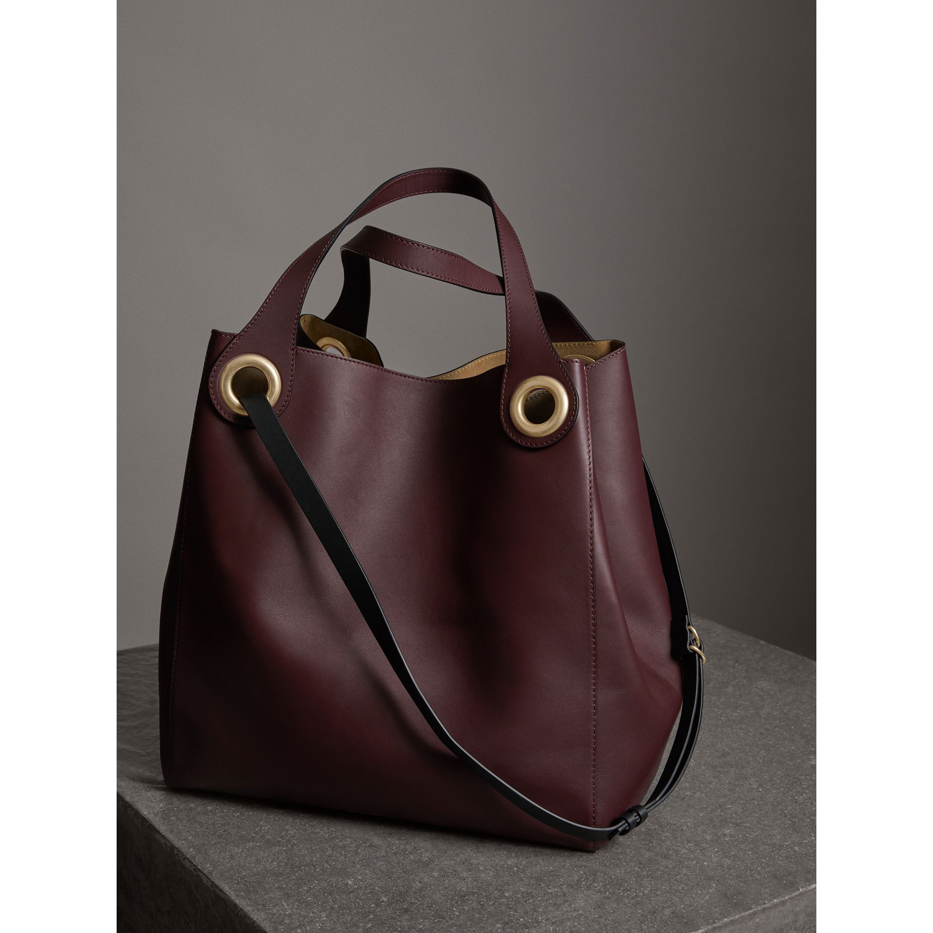 The Large Leather Grommet Detail Tote in Deep Claret | Burberry - gallery image 4
