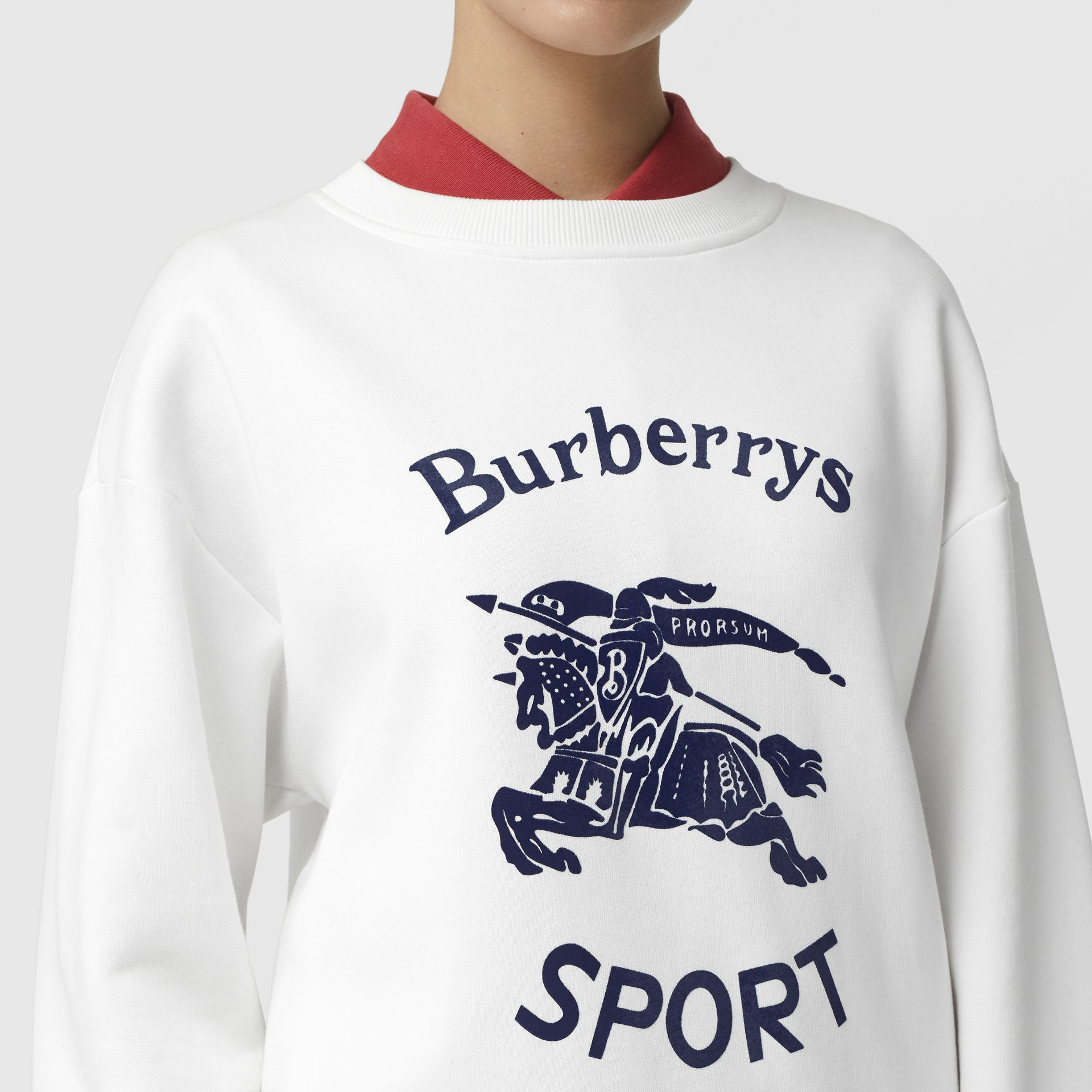 Archive Logo Cotton Blend Sweatshirt in White - Women | Burberry - gallery image 1