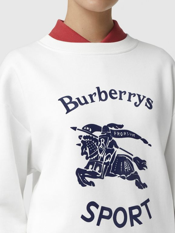Archive Logo Cotton Blend Sweatshirt in White - Women | Burberry - cell image 1