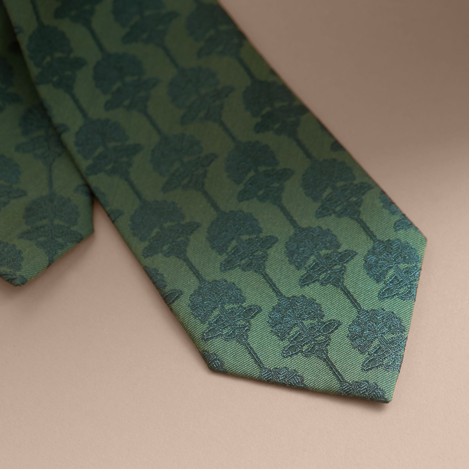 Slim Cut Floral Jacquard Silk Cotton Tie in Pine Green - Men | Burberry - gallery image 2