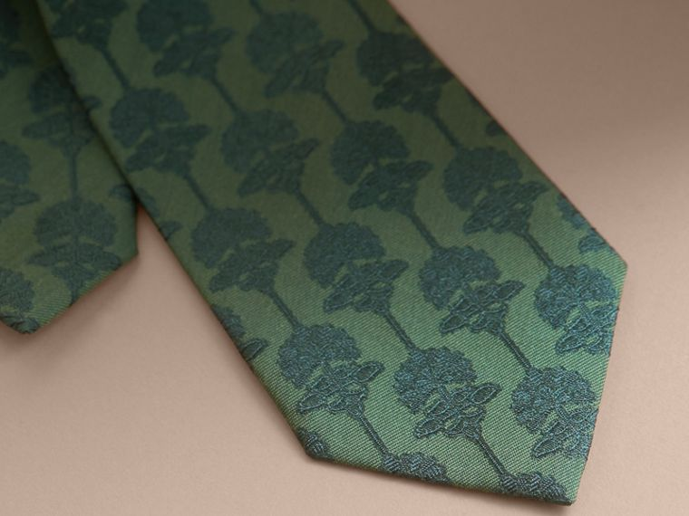 Slim Cut Floral Jacquard Silk Cotton Tie in Pine Green - Men | Burberry - cell image 1
