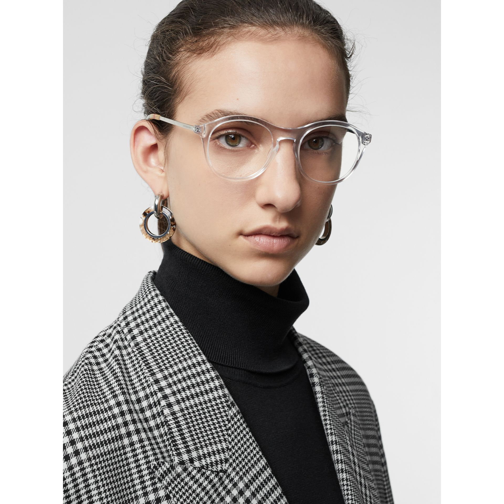 Vintage Check Detail Round Optical Frames in Crystal - Women | Burberry Australia - gallery image 2