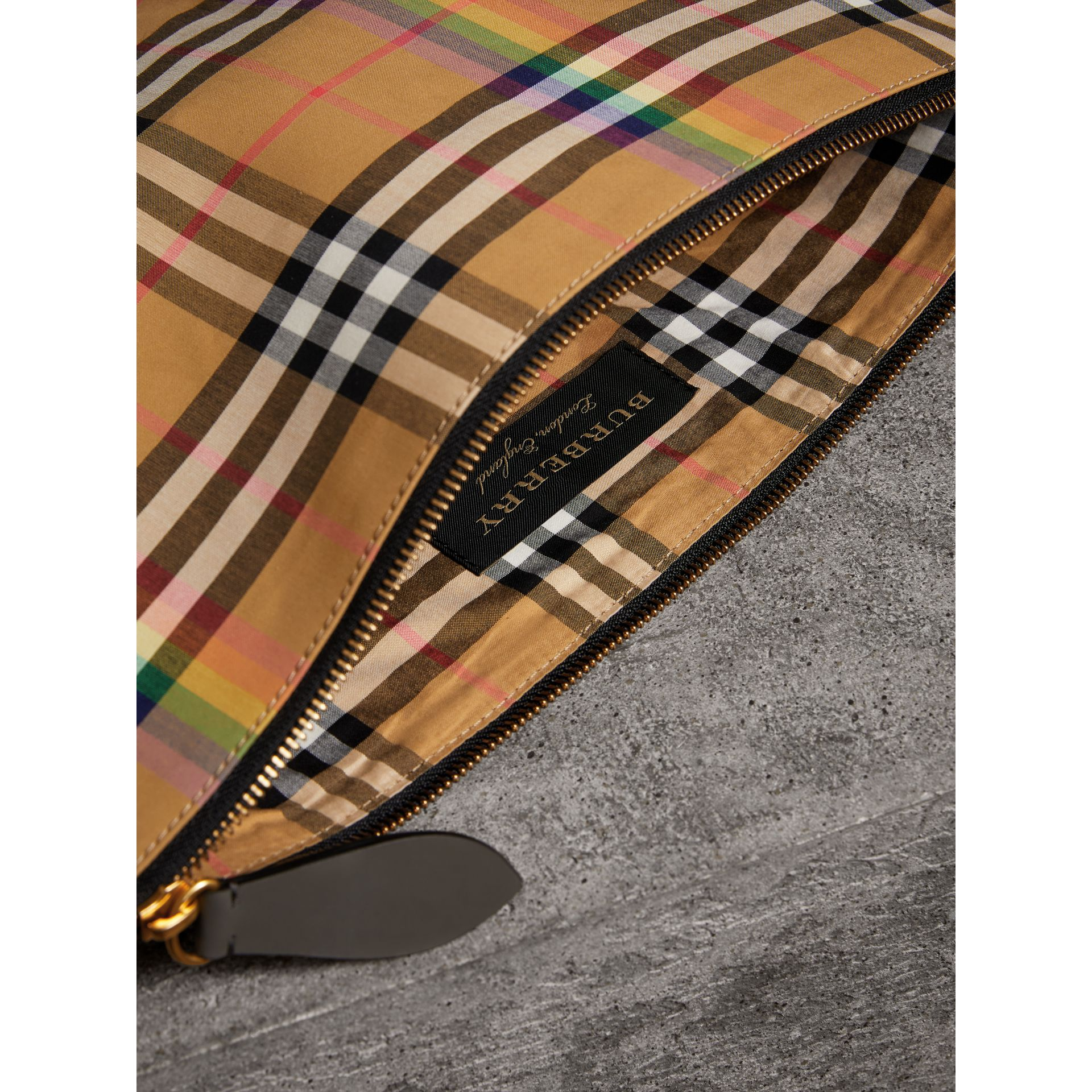 Large Rainbow Vintage Check Pouch in Dark Grey | Burberry - gallery image 7