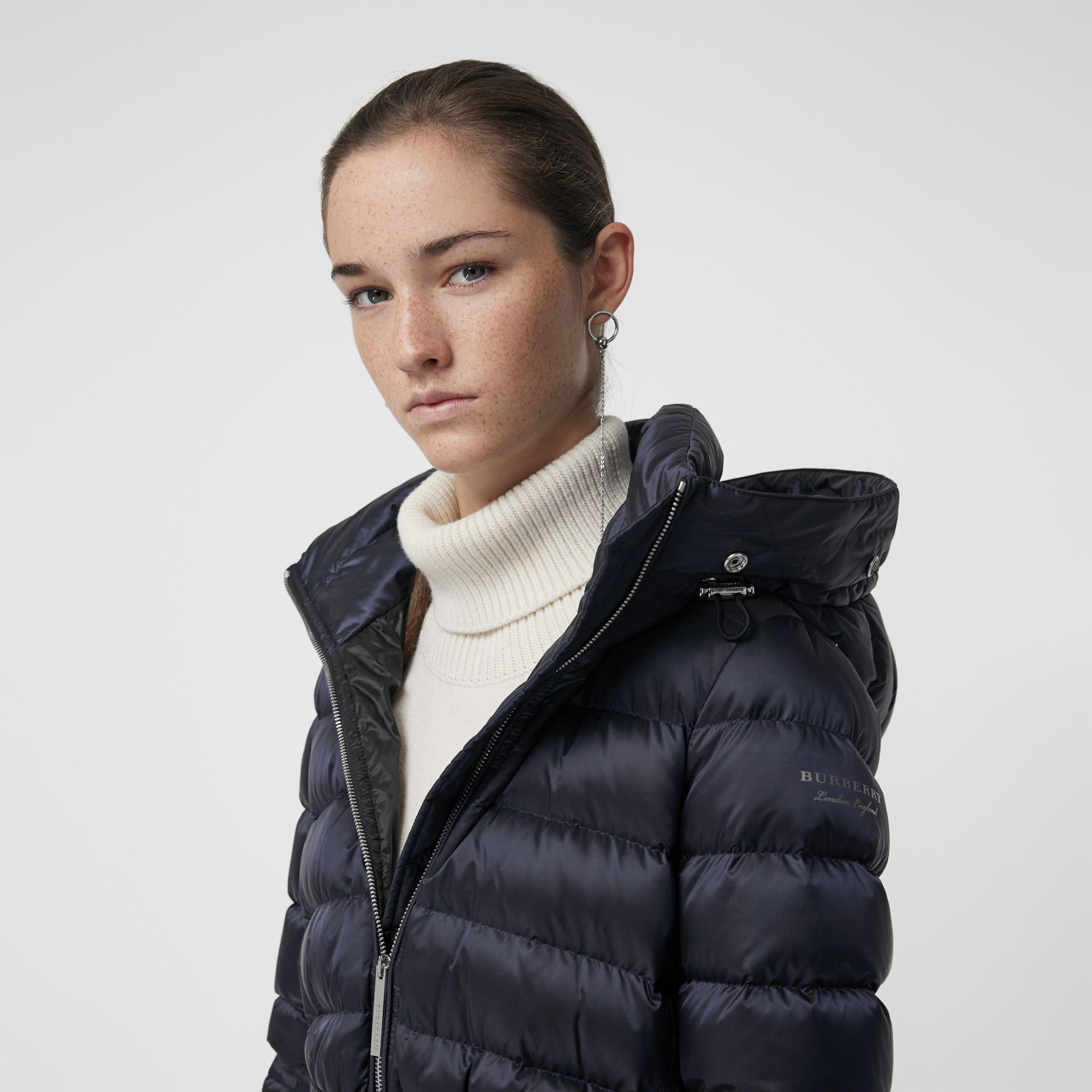 Detachable Shearling Trim Down-filled Puffer Coat in Navy - Women | Burberry - gallery image 1