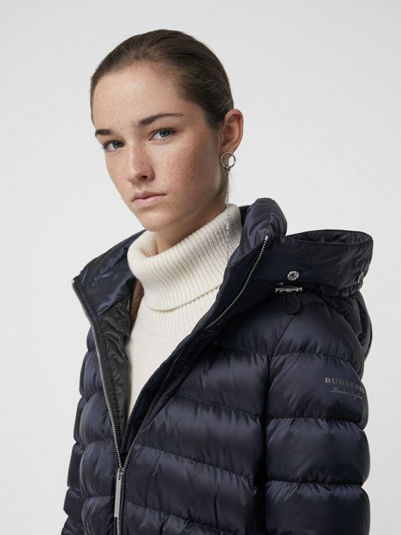 Detachable Shearling Trim Down-filled Puffer Coat in Navy - Women | Burberry - cell image 1