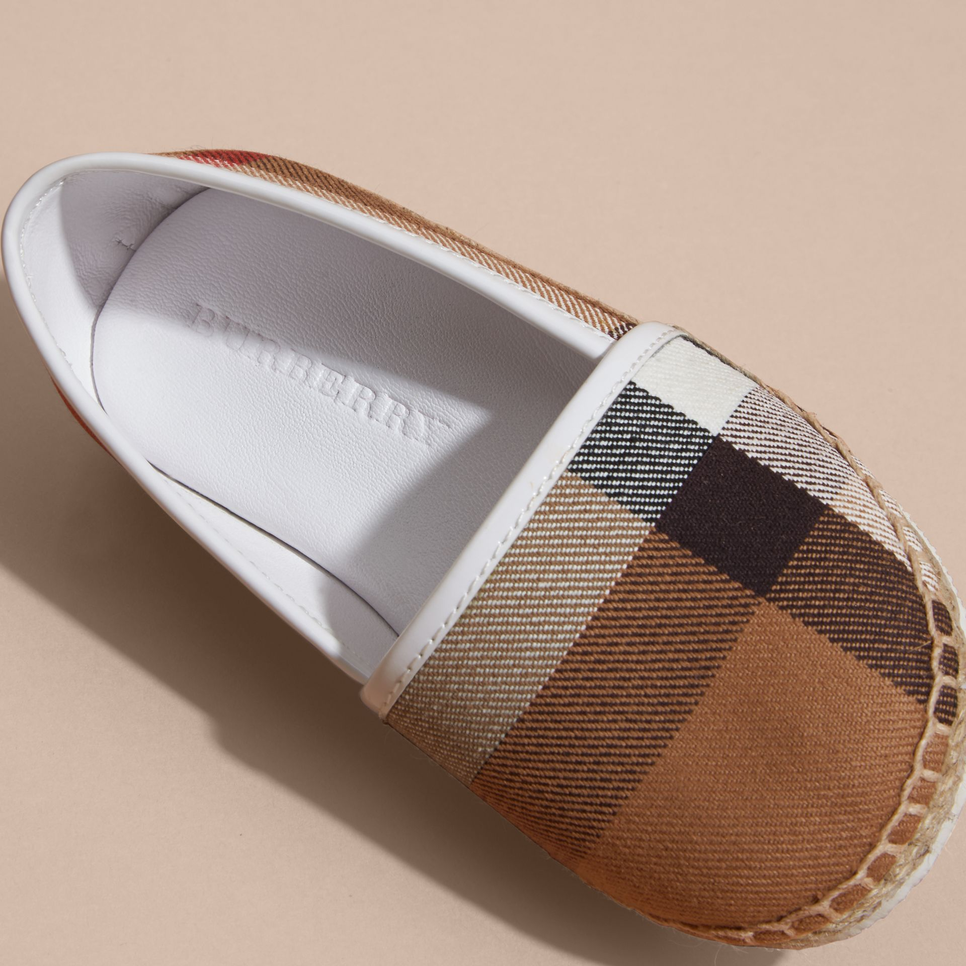 Leather and House Check Espadrilles in Optic White | Burberry - gallery image 2