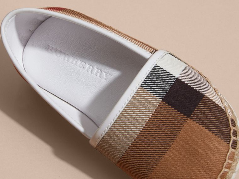 Leather and House Check Espadrilles in Optic White | Burberry - cell image 1