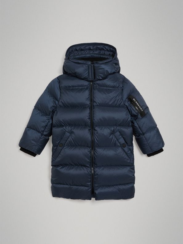 Detachable Hood Down-filled Puffer Coat in Navy