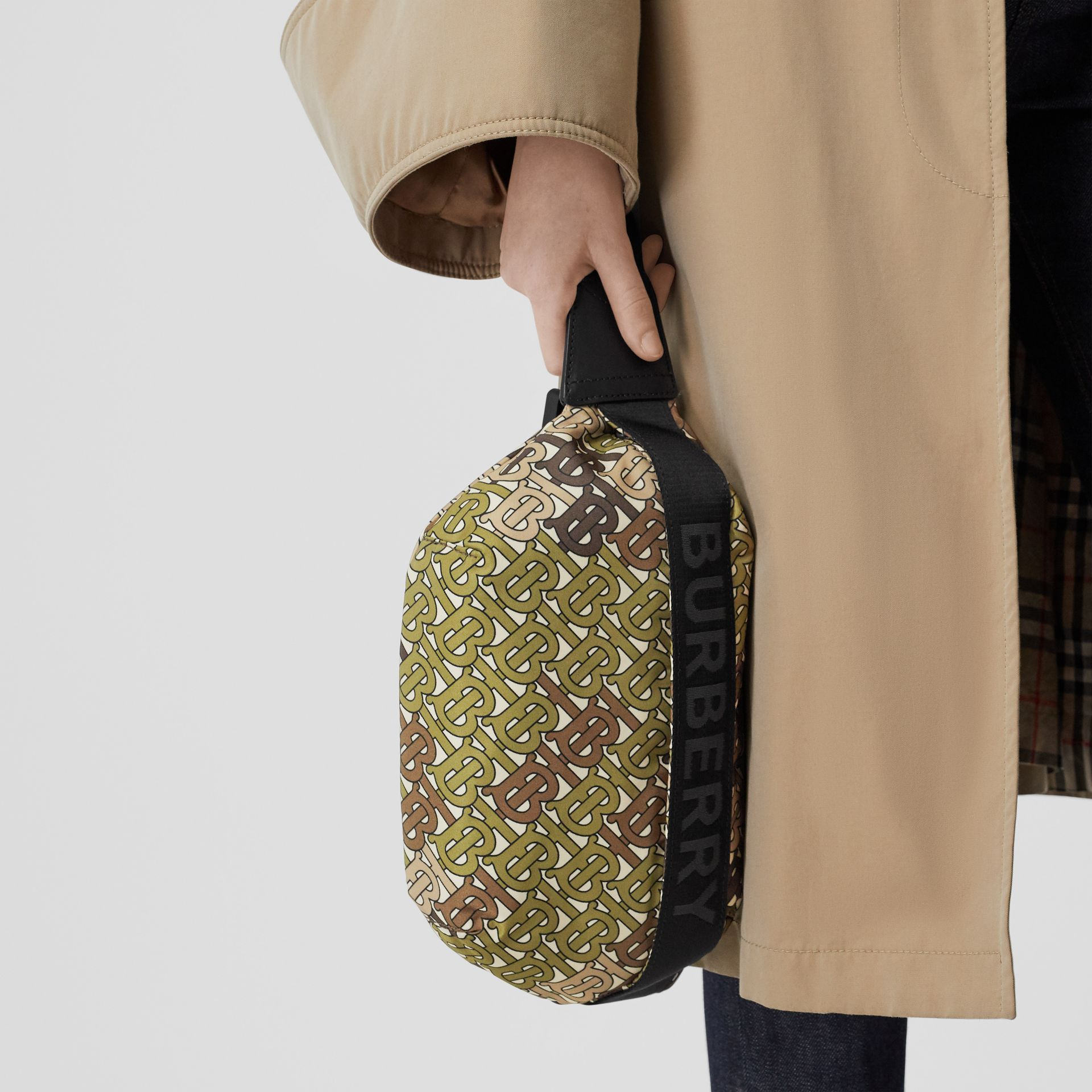 Medium Monogram Print Bum Bag in Khaki Green | Burberry Canada - gallery image 2
