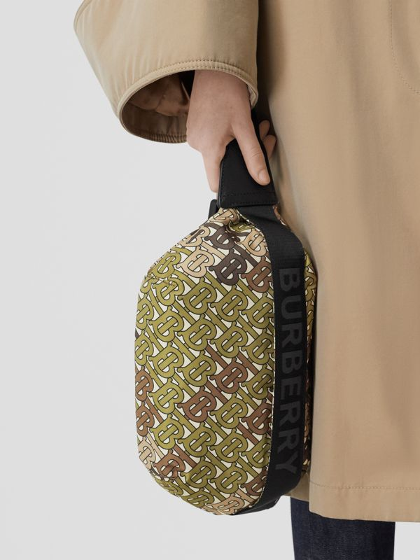 Medium Monogram Print Bum Bag in Khaki Green | Burberry - cell image 2
