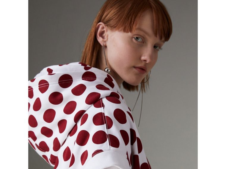 Spot Print Sleeveless Hoodie in Windsor Red - Women | Burberry - cell image 4