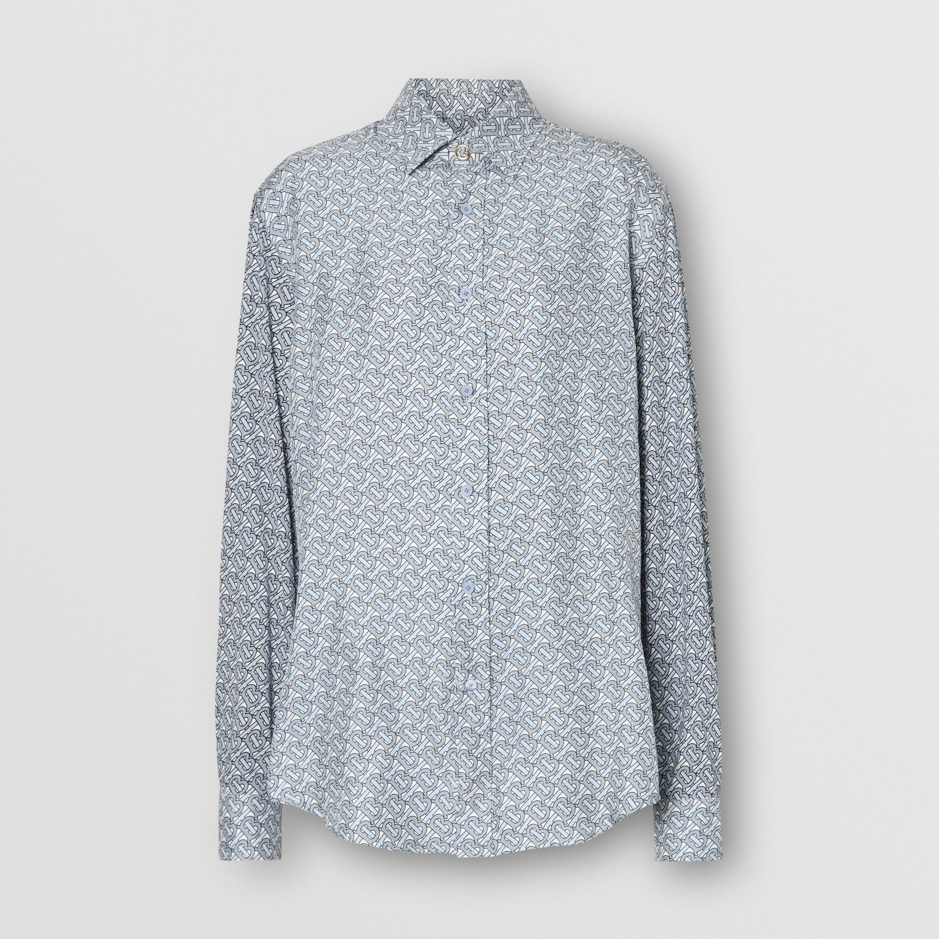 Monogram Print Silk Shirt in Pale Blue - Women | Burberry - gallery image 3