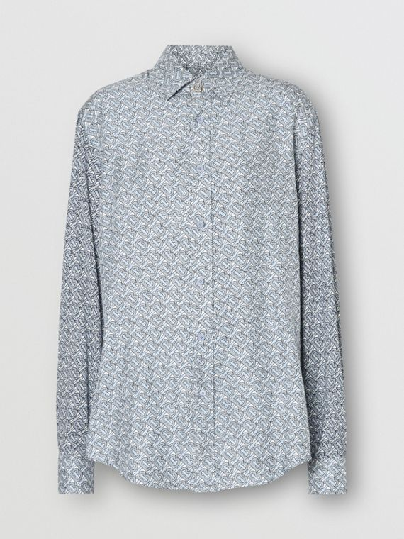 Monogram Print Silk Shirt in Pale Blue