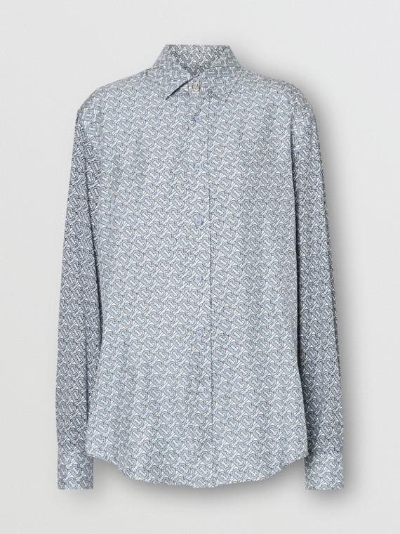Camicia in seta con stampa monogramma (Blu Pallido)