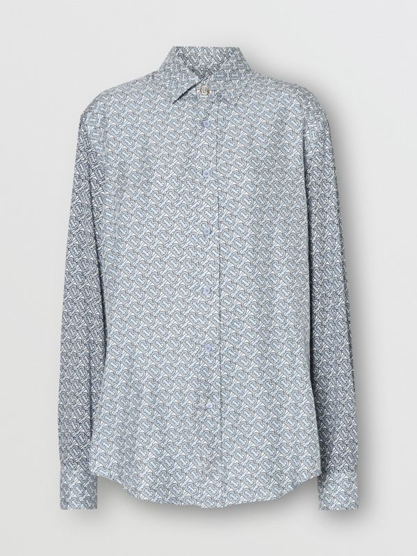 Monogram Print Silk Shirt in Pale Blue - Women | Burberry - cell image 3