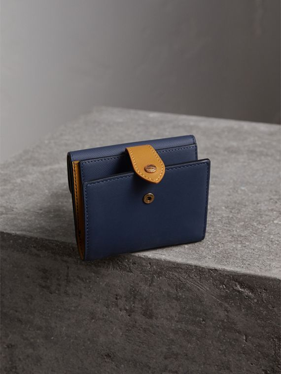 Two-tone Trench Leather Wallet in Ink Blue/ochre Yellow - Women | Burberry United Kingdom - cell image 2
