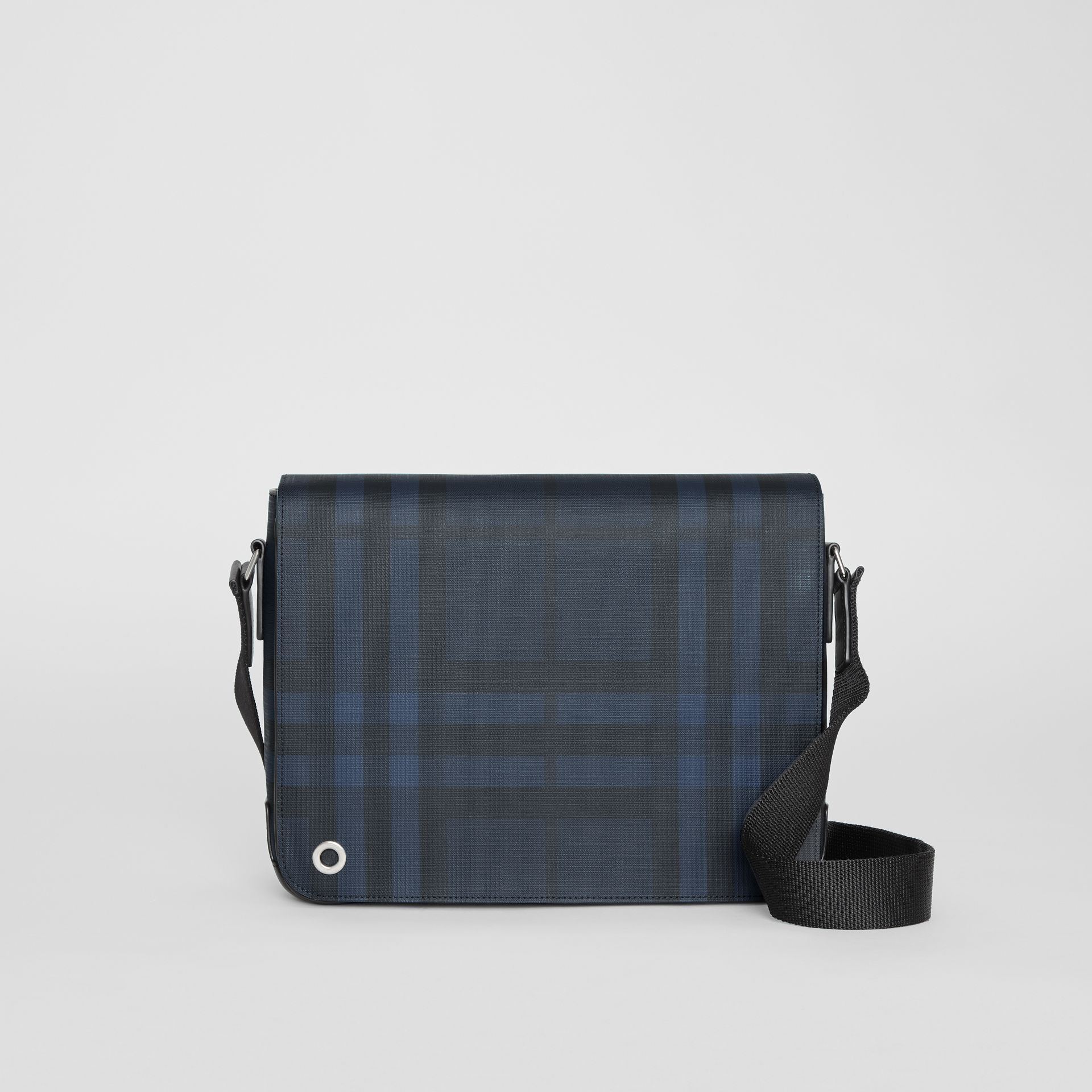 Small London Check Satchel in Navy/black - Men | Burberry Singapore - gallery image 0