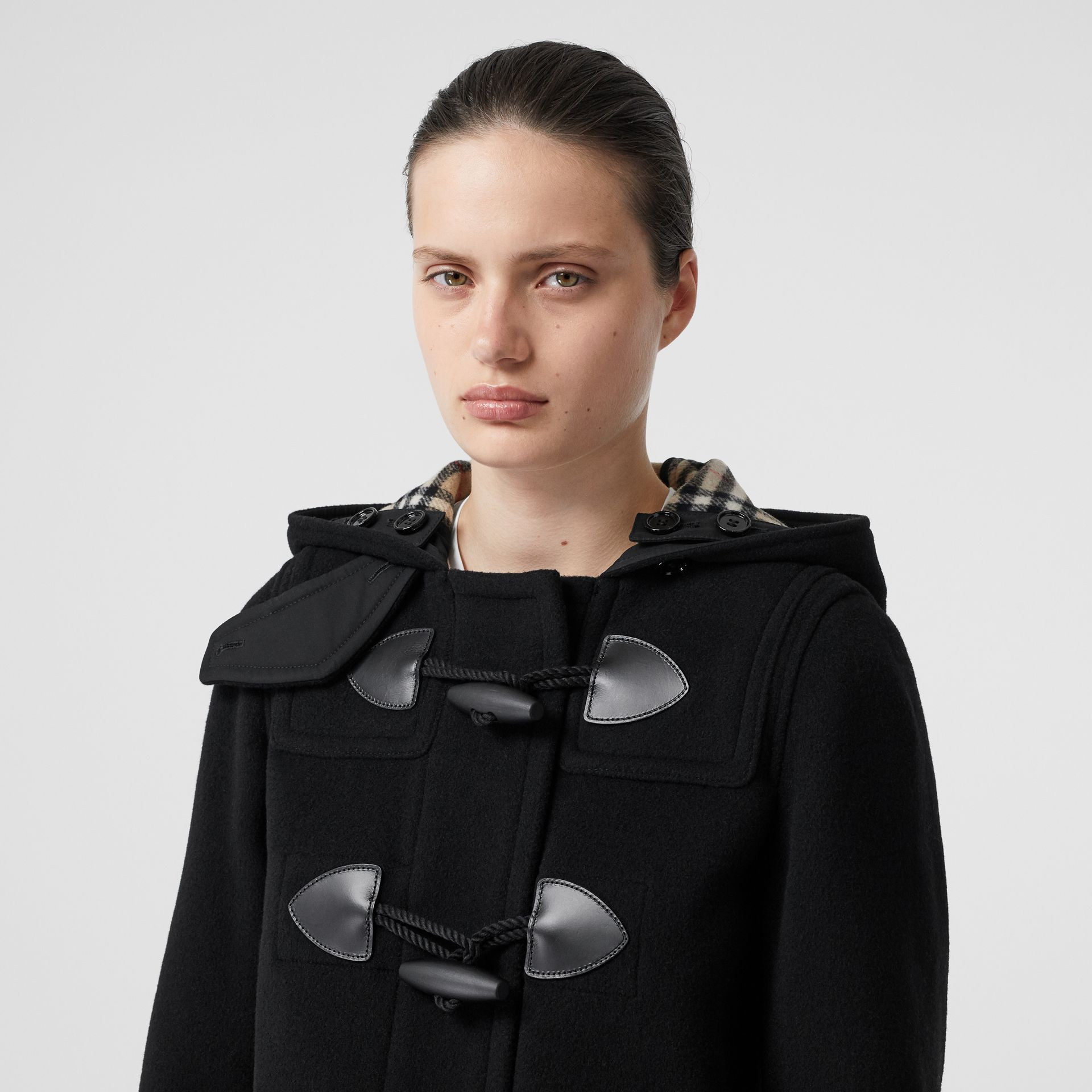 Wool Cashmere Blend Duffle Coat in Black - Women | Burberry - gallery image 1