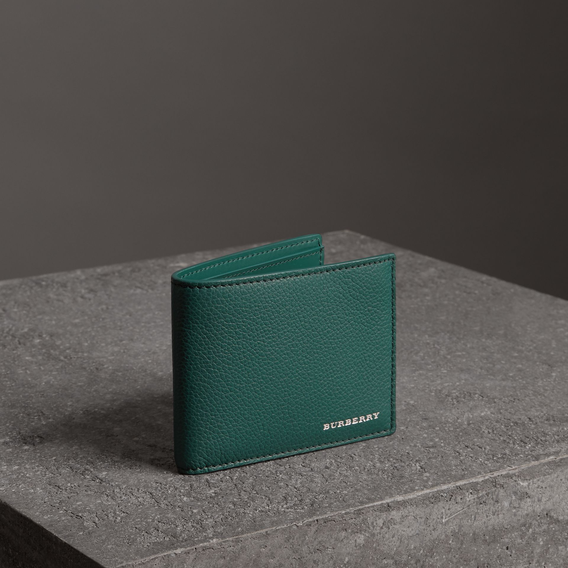 Grainy Leather Bifold Wallet in Dark Cyan - Men | Burberry - gallery image 0