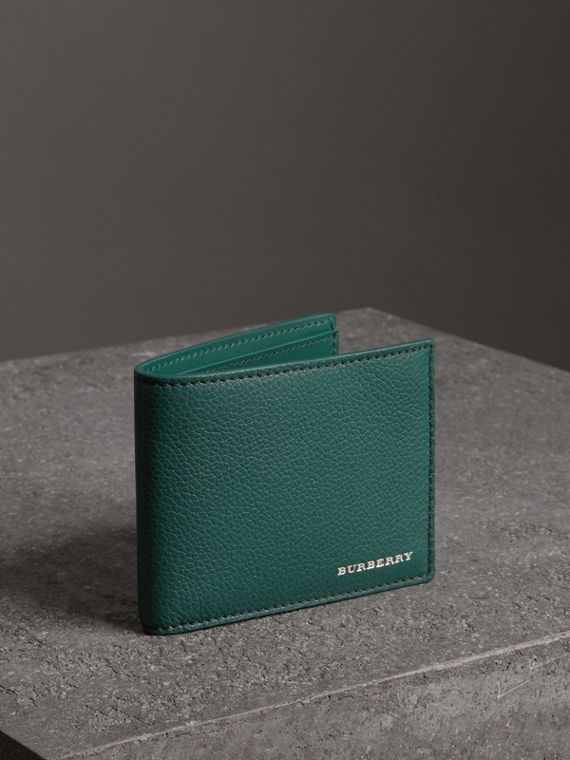 Grainy Leather Bifold Wallet in Dark Cyan