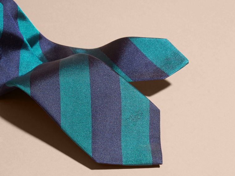 Slim Cut Stripe Jacquard Silk Tie in Mineral Blue - cell image 1