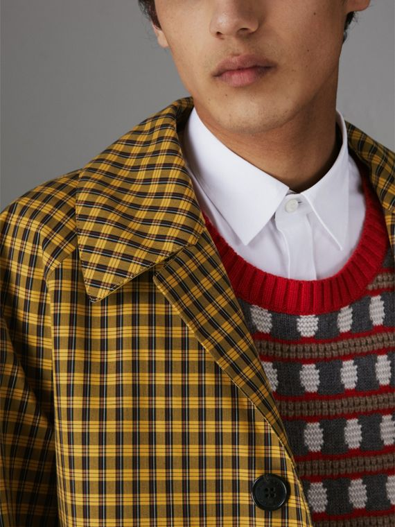슈렁큰 체크 본딩 코튼 카 코트 (사프란 옐로) - 남성 | Burberry - cell image 3