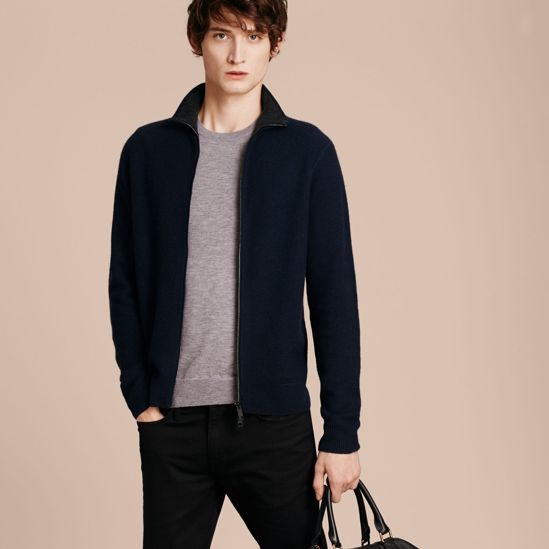 Zip Front Wool Cashmere Cardigan Navy - gallery image 6