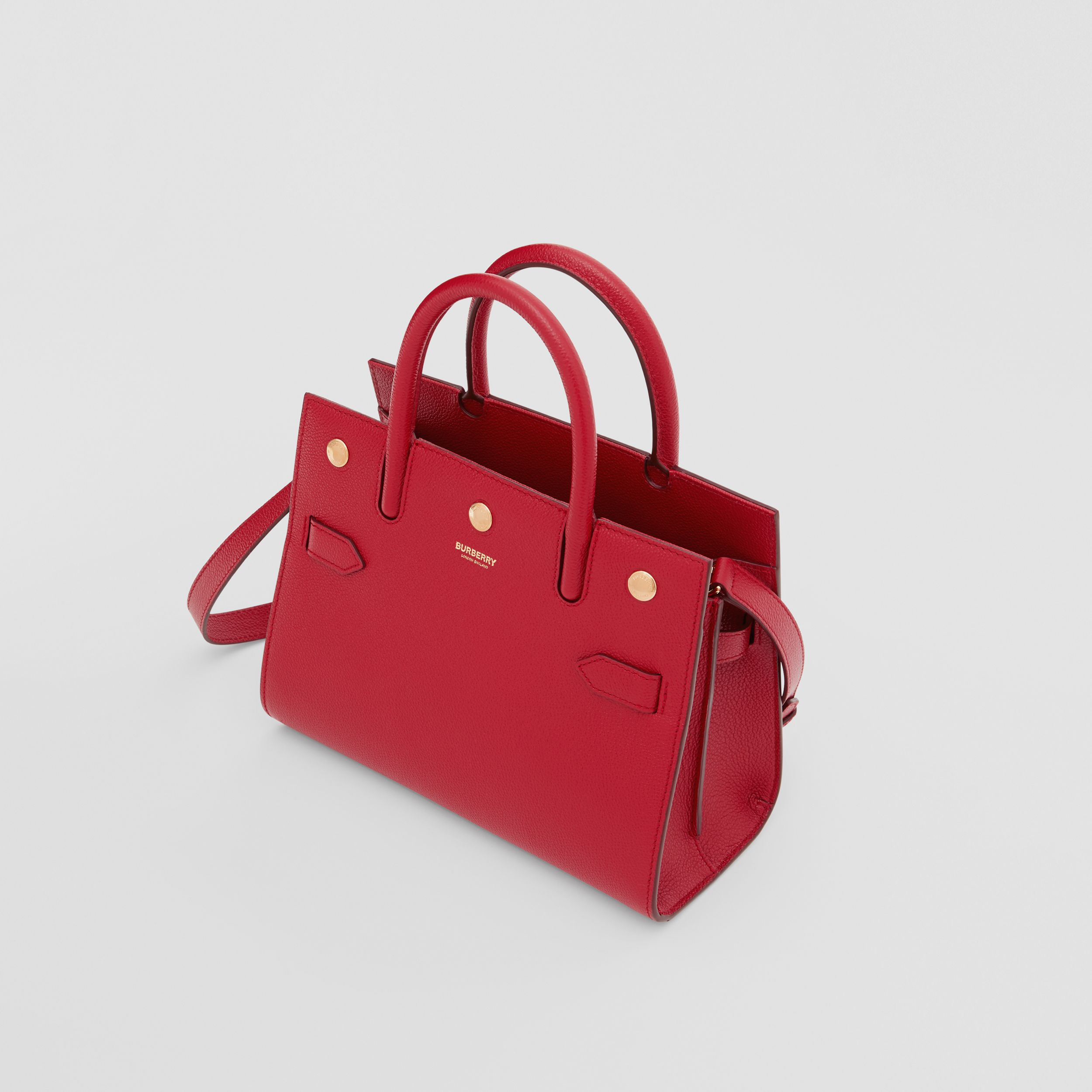 Mini Leather Two-handle Title Bag in Dark Carmine - Women | Burberry - 4
