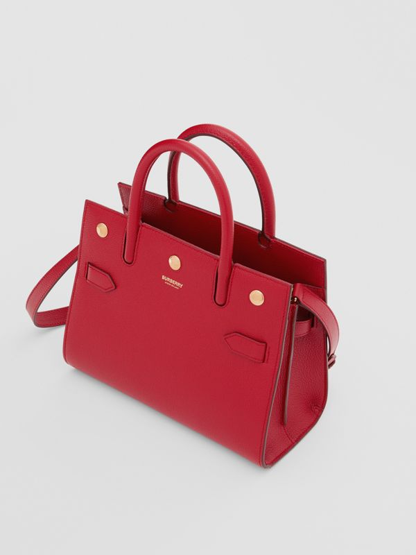 Mini Leather Two-handle Title Bag in Dark Carmine | Burberry - cell image 3