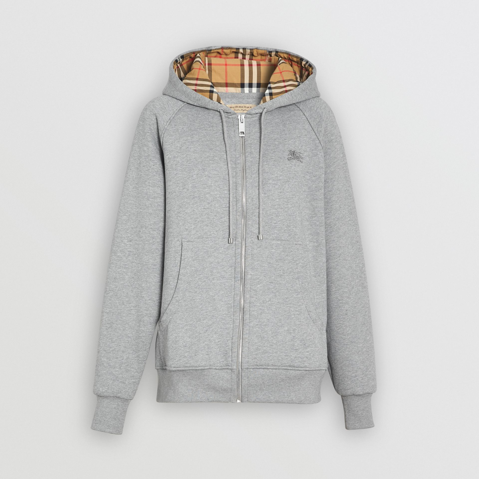 Vintage Check Detail Jersey Hooded Top in Pale Grey Melange - Women | Burberry - gallery image 3