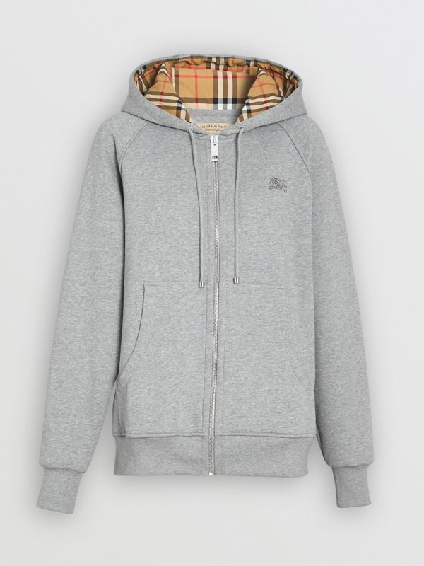 Vintage Check Detail Jersey Hooded Top in Pale Grey Melange - Women | Burberry United Kingdom - cell image 3