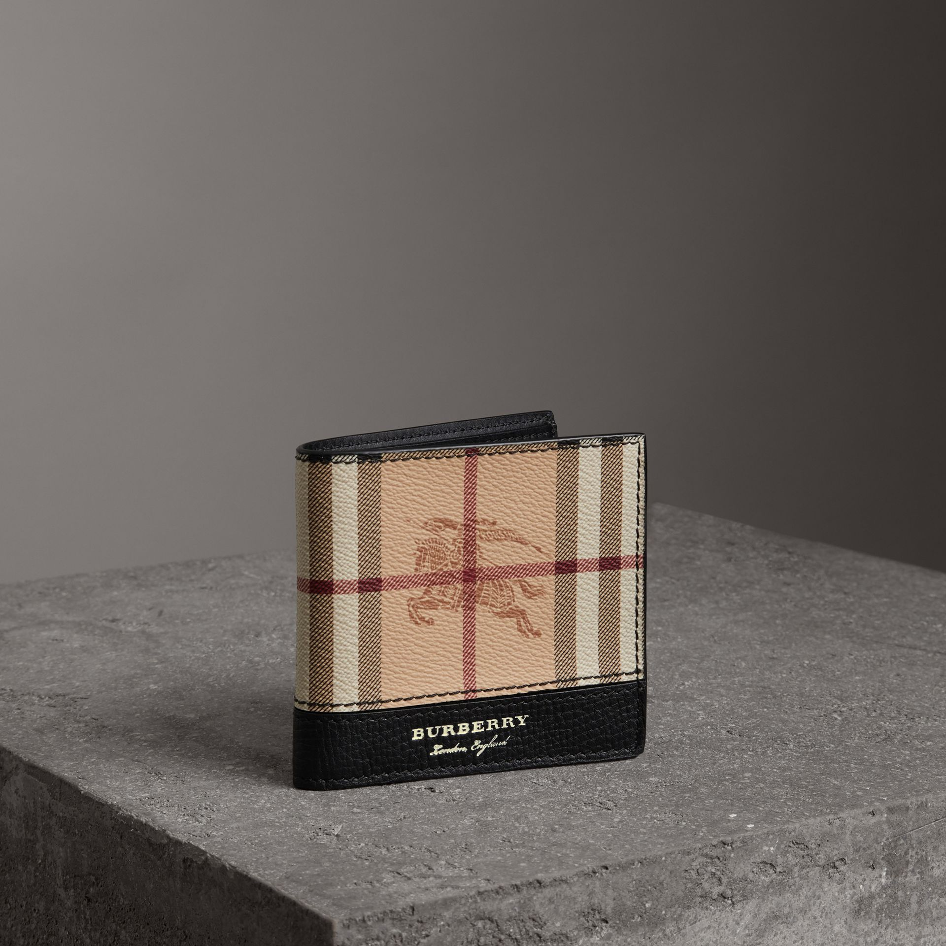 Haymarket Check International Bifold Coin Wallet in Black - Men | Burberry - gallery image 0