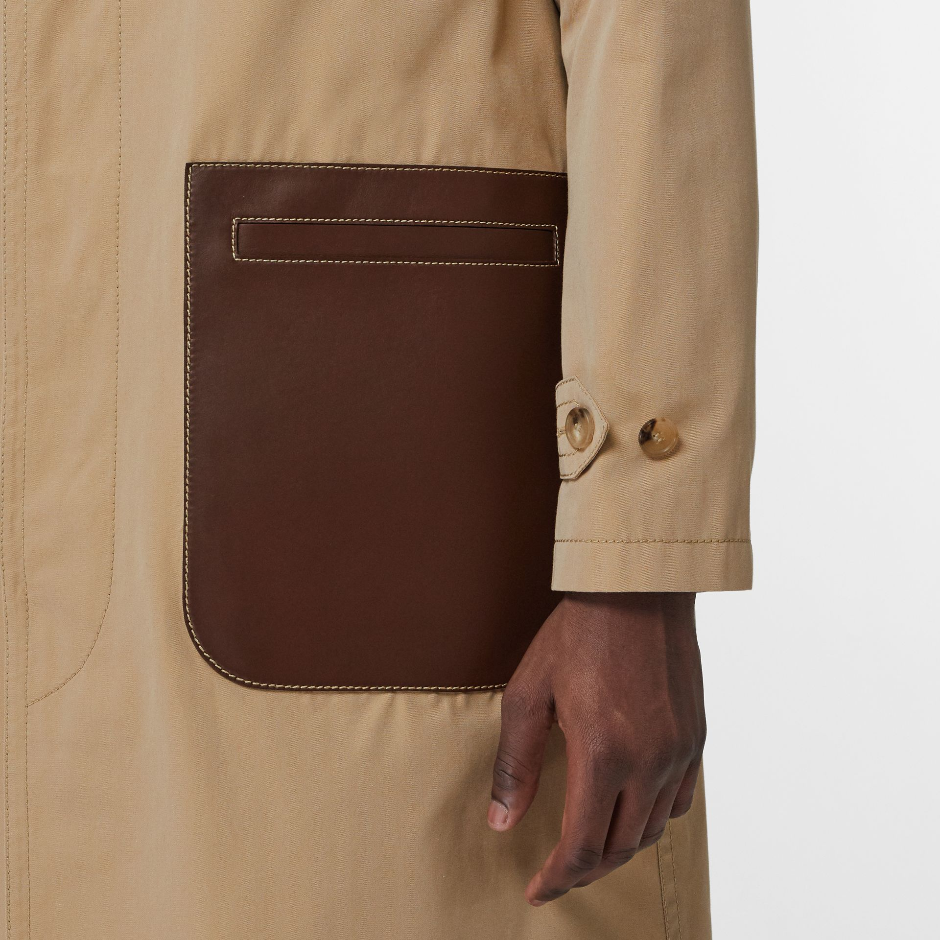 Leather Detail Cotton Gabardine Car Coat in Honey | Burberry - gallery image 4